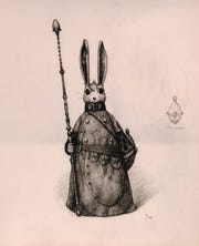 William Joyce's illustration of E. Aster Bunnymund, a character in The Guardians of Childhood series.