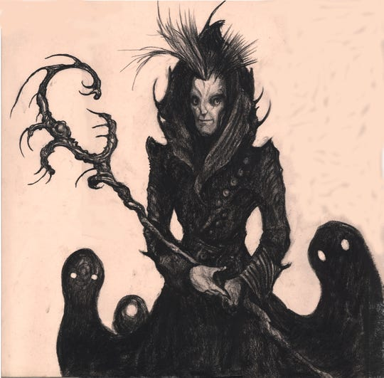 William Joyce's illustration of Pitch, King of the Nightmares, a character in The Guardians of Childhood series.
