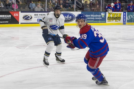 Stampede's Yan Kuznetsov (5) keeps his eye on the puck during a game against the Des Moines Buccaneers, Tuesday, Dec. 4, 2018 at the Denny Sanford Premier Center in Sioux Falls, S.D.