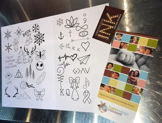 These are some of the designs people could choose from on Tuesday, Dec. 4, 2018, at Kaleidoscope Ink. The tattoos were $25 each on a first-come, first serve basis. The artists raised $4,415 to help foster kids in this area.