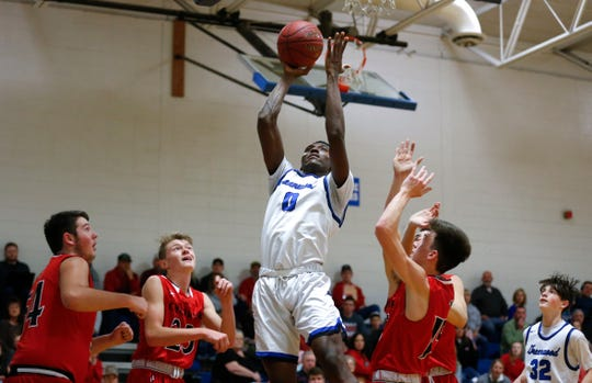 Greenwood Laboratory School sophomore Aminu Mohammed during a game against Chadwick High School on Dec. 4, 2018. Mohammed is a five-star sophomore as ranked by both ESPN and 247Sports.com.