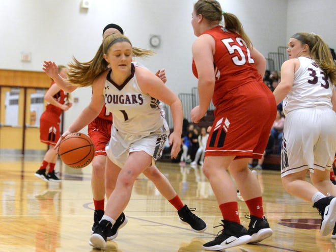Stuarts Draft's Madi Armentrout dribbles around Riverheads' Olivia Modlin Tuesday night during their Shenandoah District basketball game.