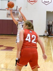 Stuarts Draft's McKinley Fitzgerald puts up a shot Tuesday night against Riverheads. Fitzgerald finished with 15 points in Draft's win.