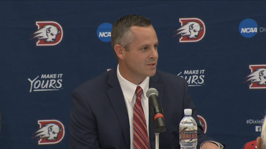 Dixie State head football coach Paul Peterson speaks at his introductory press conference on Dec. 5, 2018.
