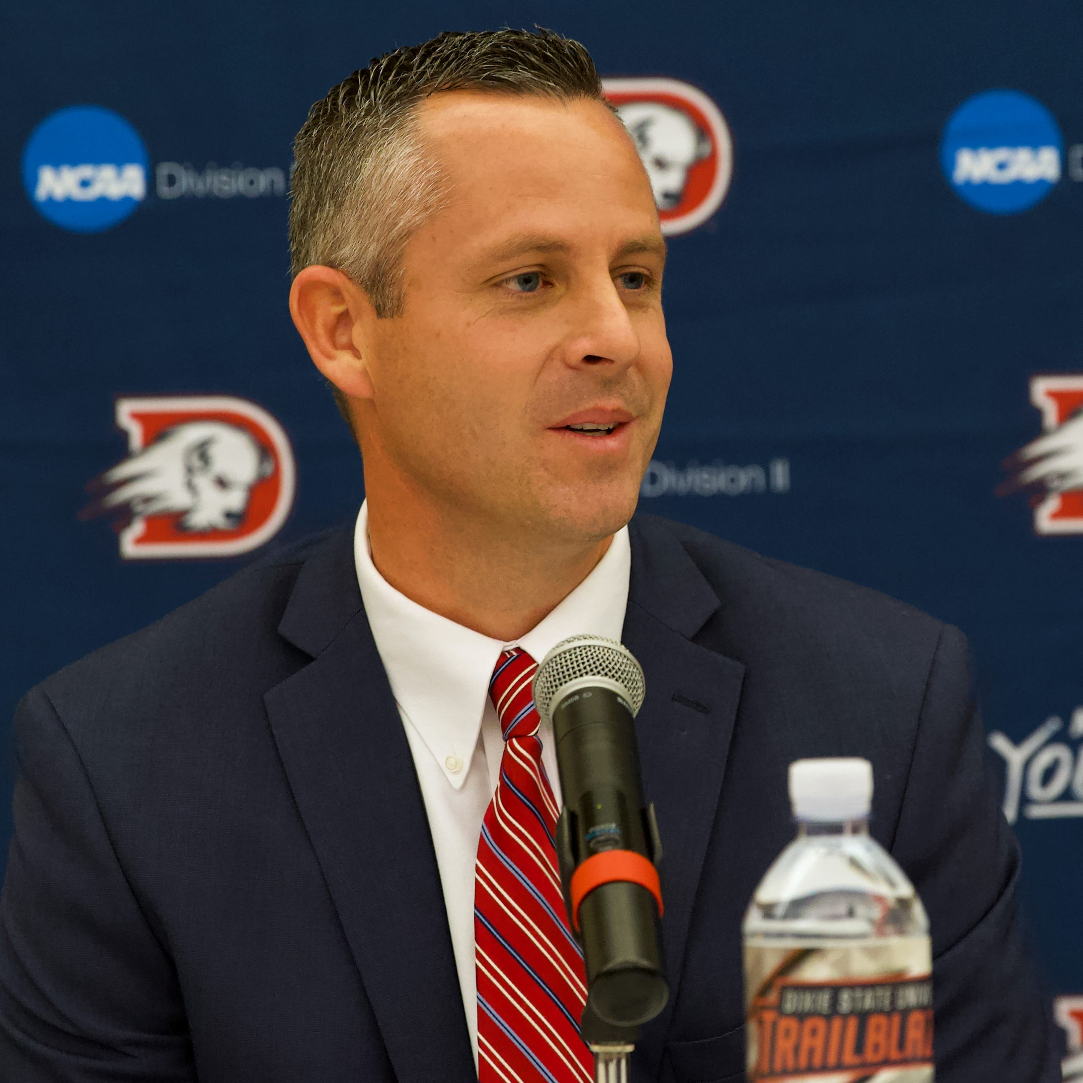 Peterson opens stint as Dixie State head football coach with introductory press conference