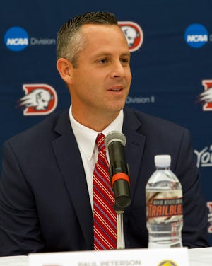 Dixie State head football coach Paul Peterson at his introductory press conference on Dec. 5, 2018.