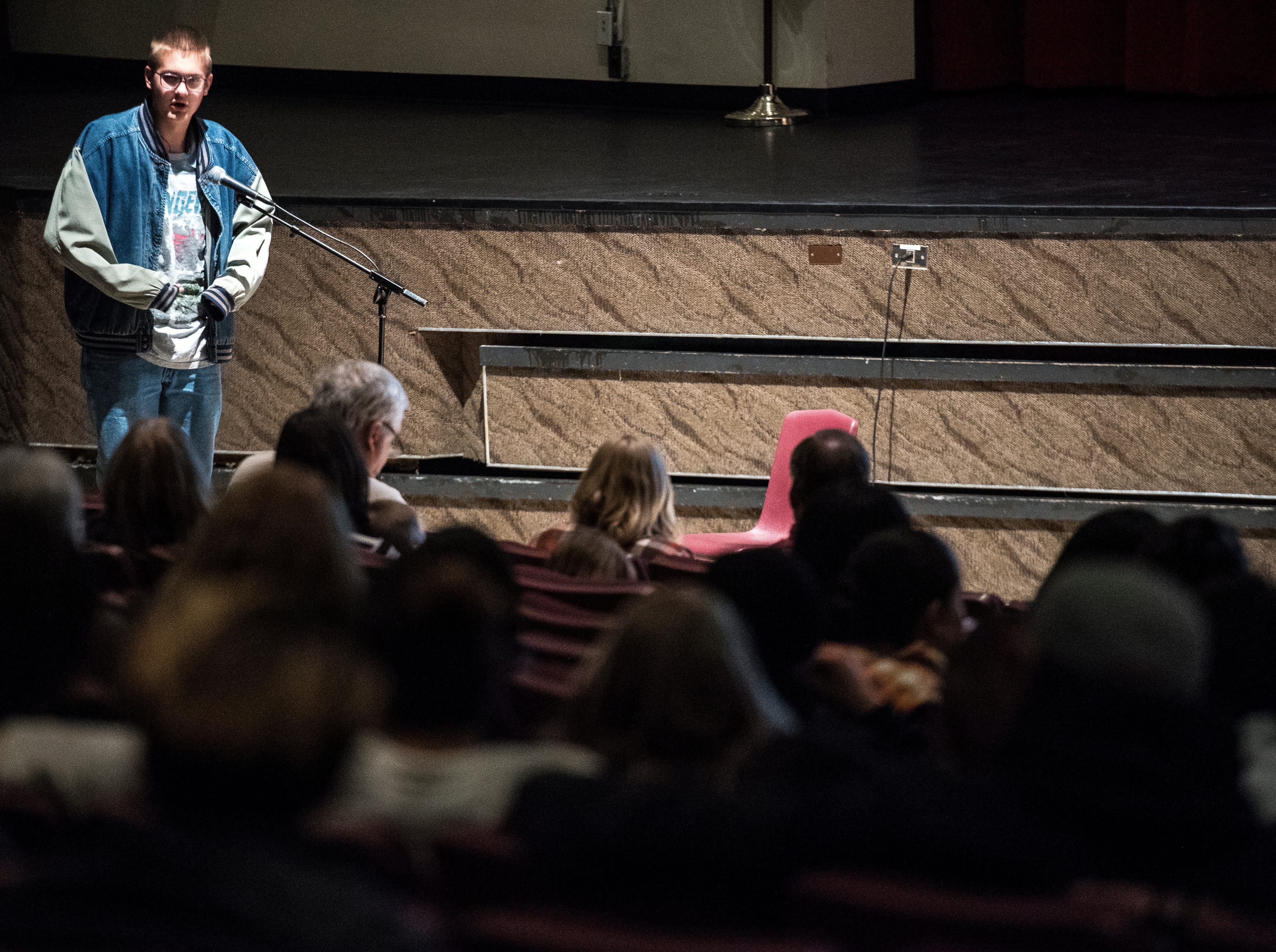 A Cedar High students voices his opinion about the name of the school's mascot during a special hearing Tuesday, Dec. 4, 2018. A panel has been formed to study whether the Redmen mascot should be replaced.