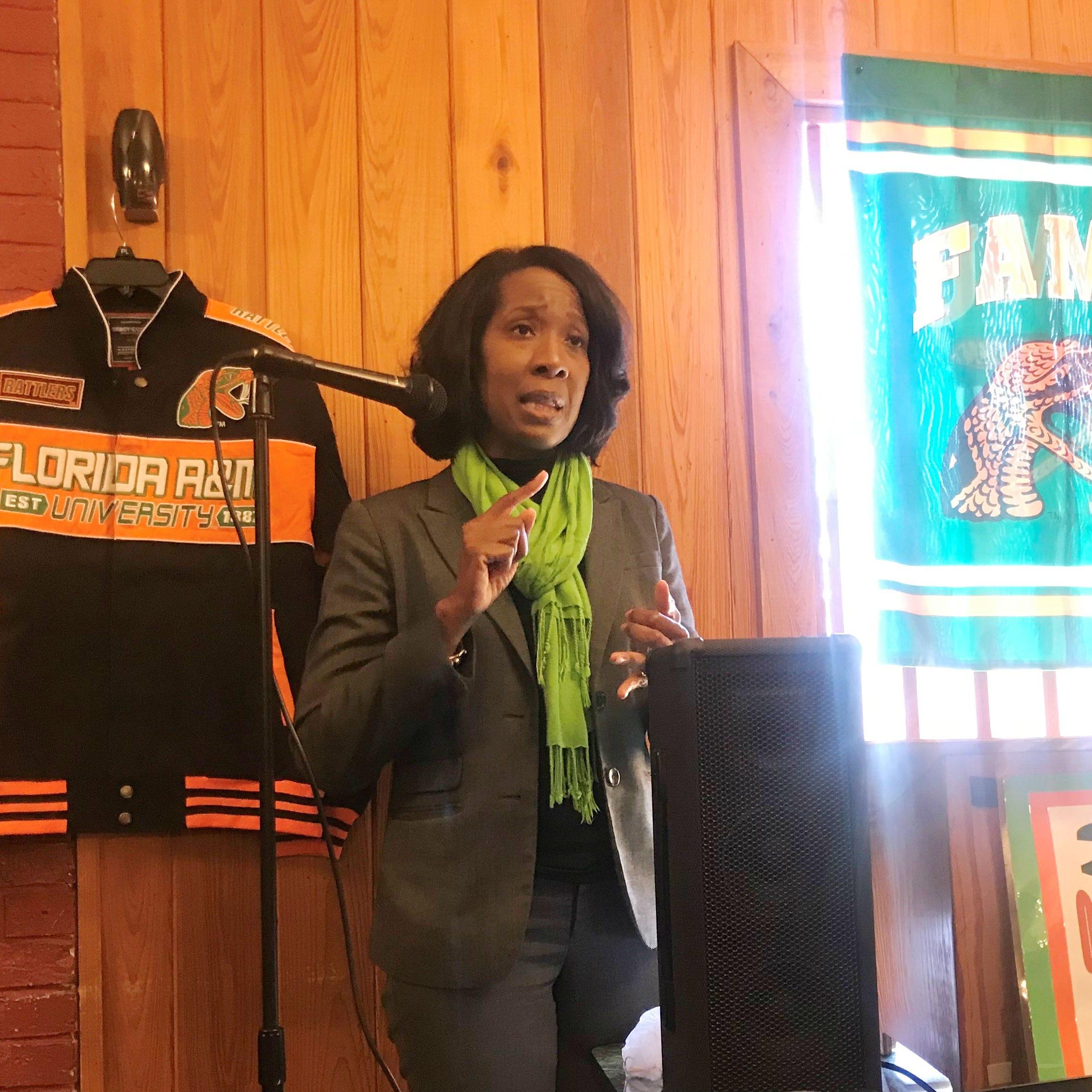 FAMU newly-hired deputy AD Dr. Genyne Boston addresses 220 QB Club