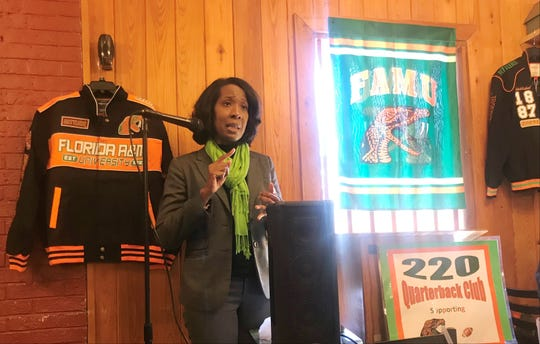 Dr. Genyne H. Boston, FAMU's new deputy athletics director, was the guest speaker at the 220 Quarterback Club luncheon. She addressed a variety of issues including academics, finances, facilities and marketing.