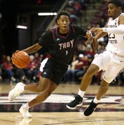 Dec 3, 2018; Tallahassee, FL, USA; Troy Trojans forward Javan Johnson (1) drives abasing Florida State Seminoles guard M.J. Walker (23) at Donald L. Tucker Center during the second half. Mandatory Credit: Glenn Beil-USA TODAY Sports