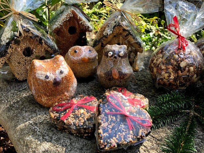 Birdseed ornaments can be hung in the yard for our feathered friends.