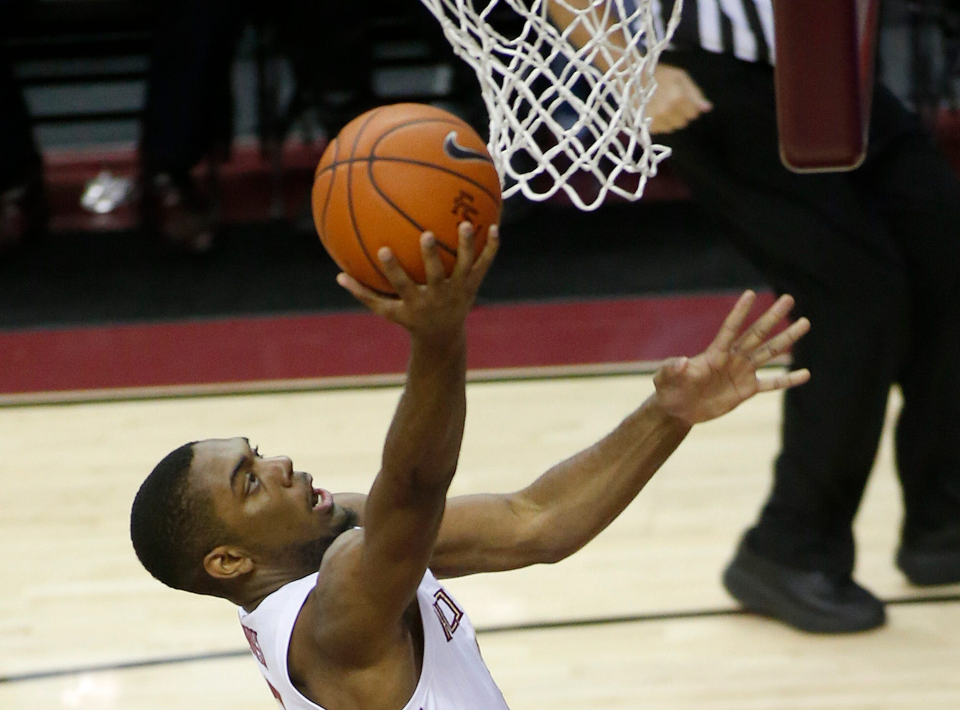 Dec 3, 2018; Tallahassee, FL, USA;  Florida State Seminoles guard Trent Forrest (3) scores aganst the Troy Trojans at Donald L. Tucker Center during the first half. Mandatory Credit: Glenn Beil-USA TODAY Sports