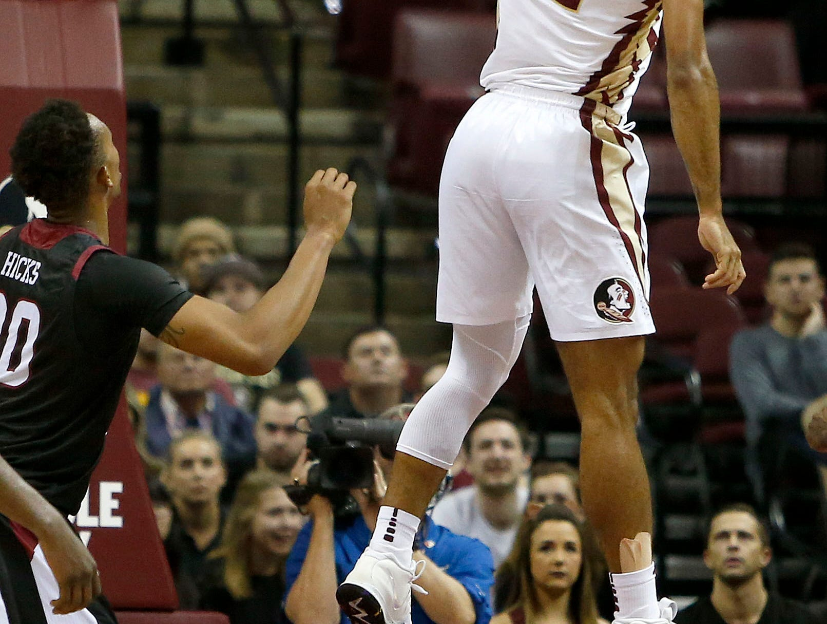 Dec 3, 2018; Tallahassee, FL, USA; Florida State Seminoles guard Anthony Polite (13) dunks abasing the Troy Trojans  at Donald L. Tucker Center during the second half. Mandatory Credit: Glenn Beil-USA TODAY Sports
