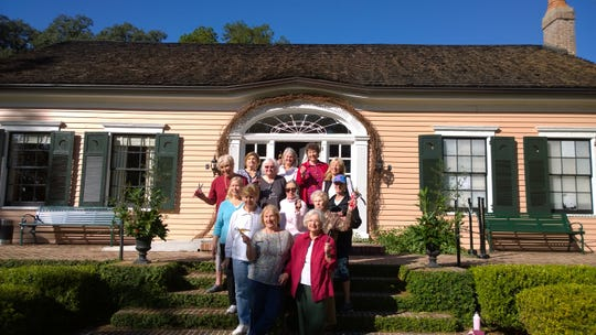Garden Club members on the front steps of the historic Maclay House. Photo by Terri Messler.