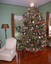 Christmas tree in Maclay House for Camellia Christmas event at Maclay Gardens.