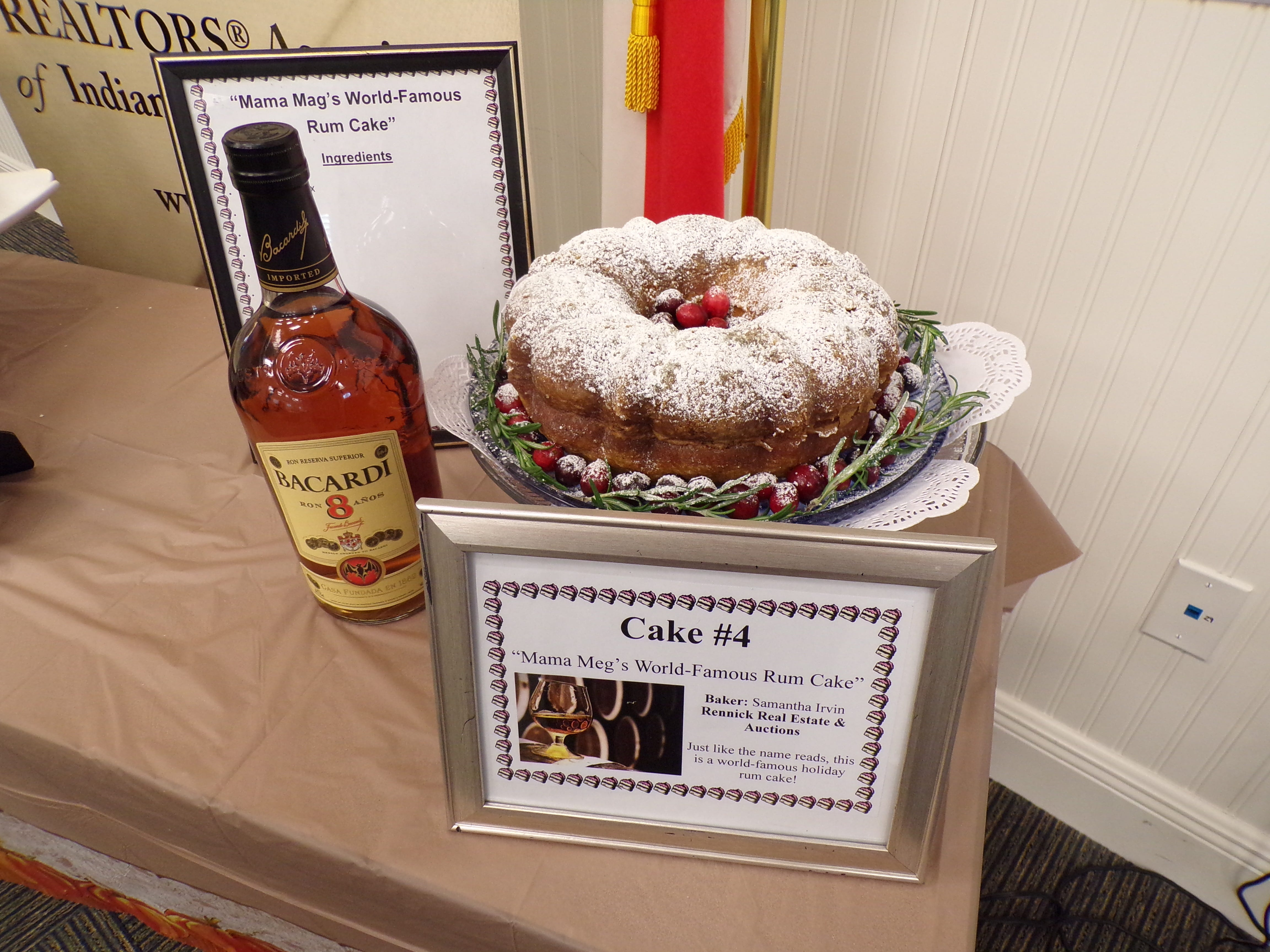 Best Tasting: Mama Meg's World-Famous Rum Cake, prepared by Samantha Irvin with Rennick Real Estate & Auctions.
