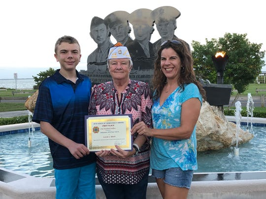 From left: Lucas Bush, Andrea Coy and Lisa Bush. Lucas, a freshman at Sebastian River High School, won the Voice of Democracy award this year and was the Patriot's Pen winner in 2016 and 2017 as a middle school student. Coy is a former Sebastian council member and VFW Post 10210 member. Lisa Bush is Lucas's mother.