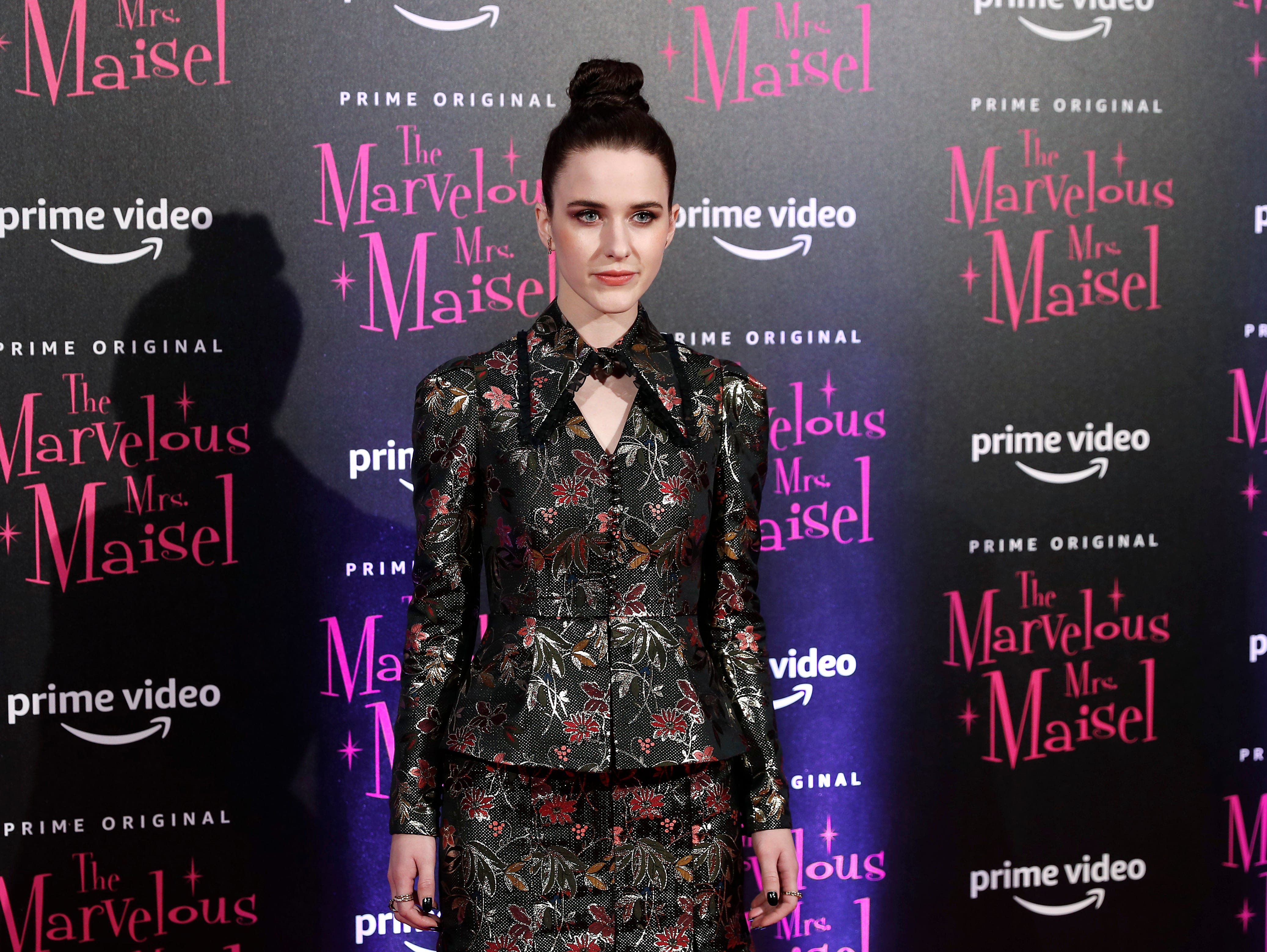 """Actress Rachel Brosnahan poses for photographers at the European Premiere of """"The Marvelous Mrs. Maisel"""" season 2, in Milan, Italy, Monday, Dec. 3, 2018."""