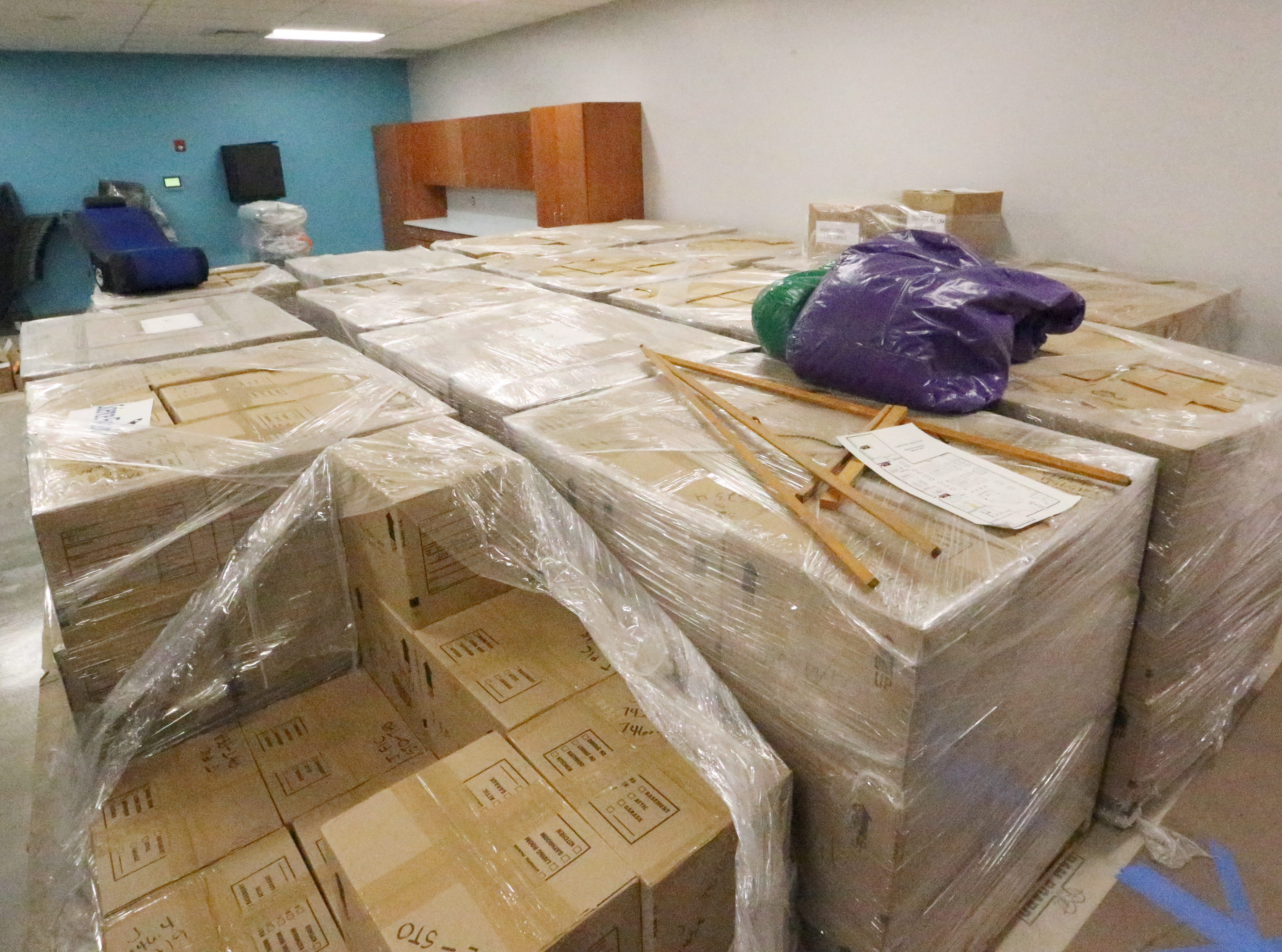 46 pallets full of boxes containing 72,000 books await inside the newly renovated Richard Burges Library.