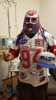 Ezra Castro, in his Pancho Billa guise, poses after a chemotherapy session in September, before heading to Buffalo, New York.
