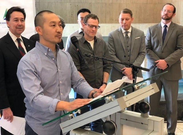 Steven Khuong, founder and CEO of Curacubby, a Berkeley, Calif., high-tech startup, speaks about opening an El Paso office during a news conference Wednesday, Dec. 5, 2018, in the One San Jacinto Plaza office tower in Downtown.