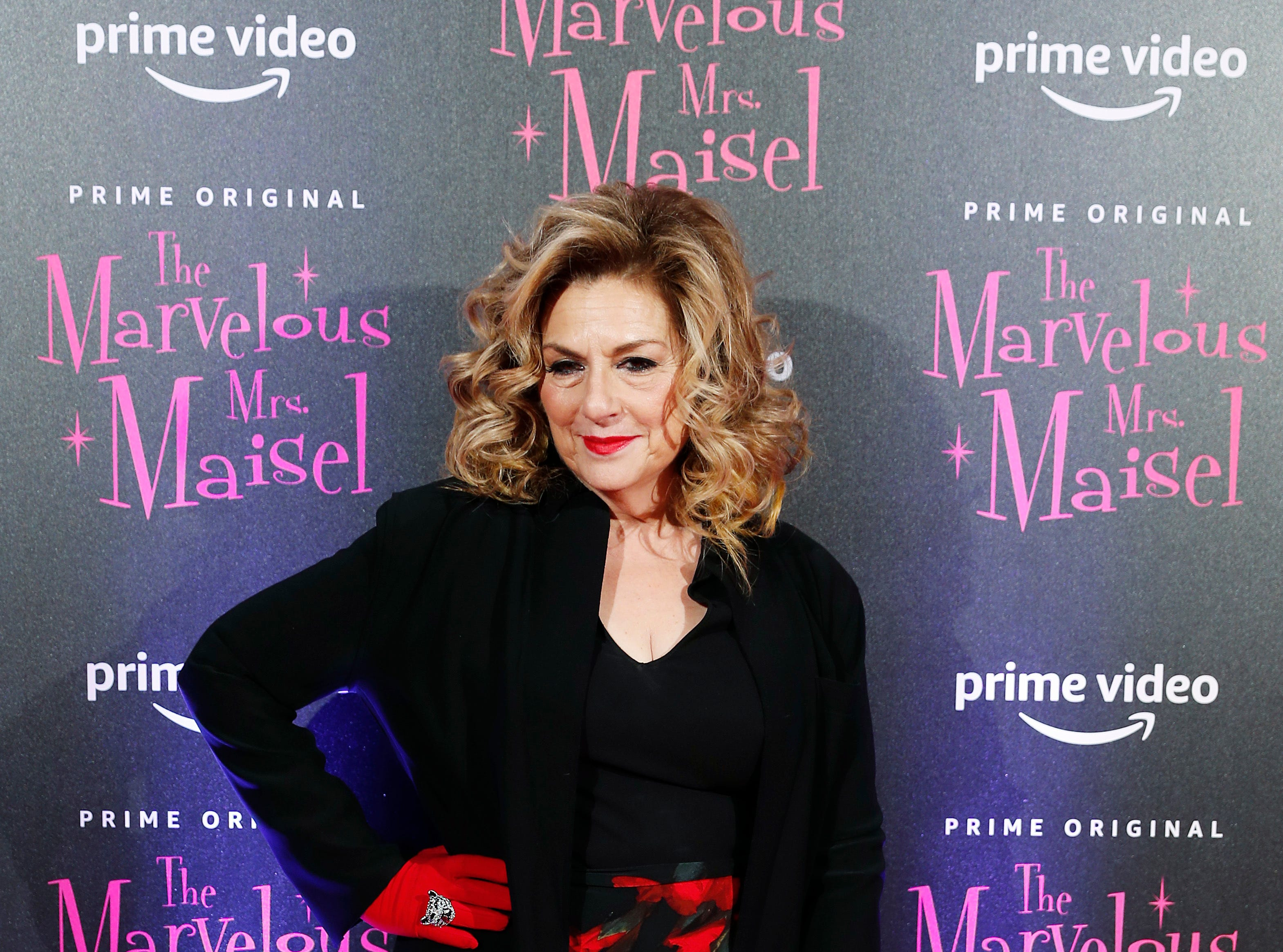 """Actress Caroline Aaron poses for photographers at the European Premiere of """"The Marvelous Mrs. Maisel"""" season 2, in Milan, Italy, Monday, Dec. 3, 2018."""