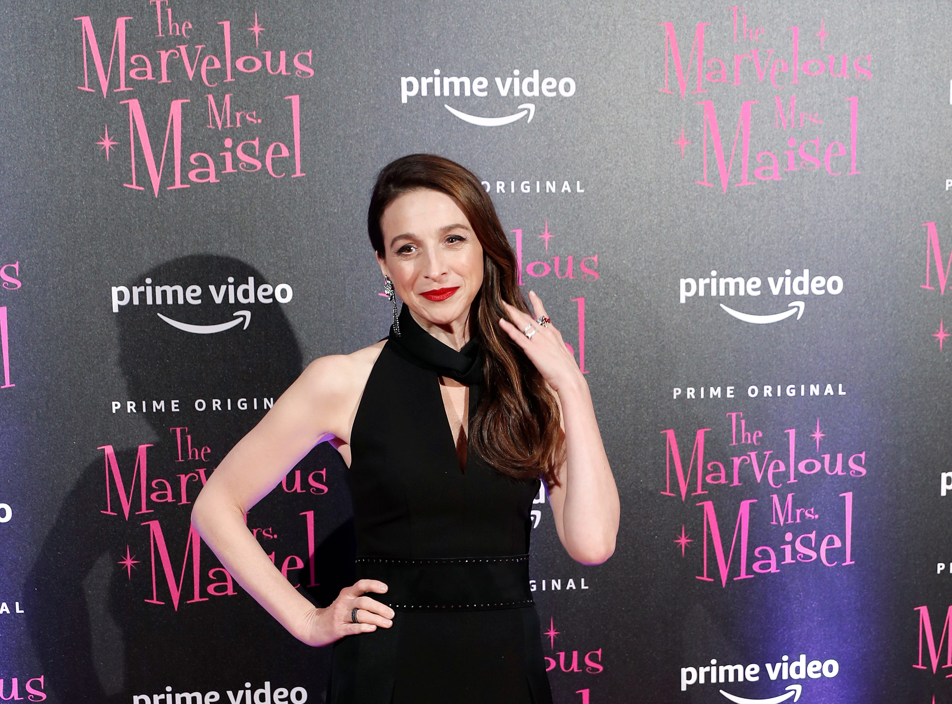 """Actress Marin Hinkle poses for photographers at the European Premiere of """"The Marvelous Mrs. Maisel"""" season 2, in Milan, Italy, Monday, Dec. 3, 2018."""