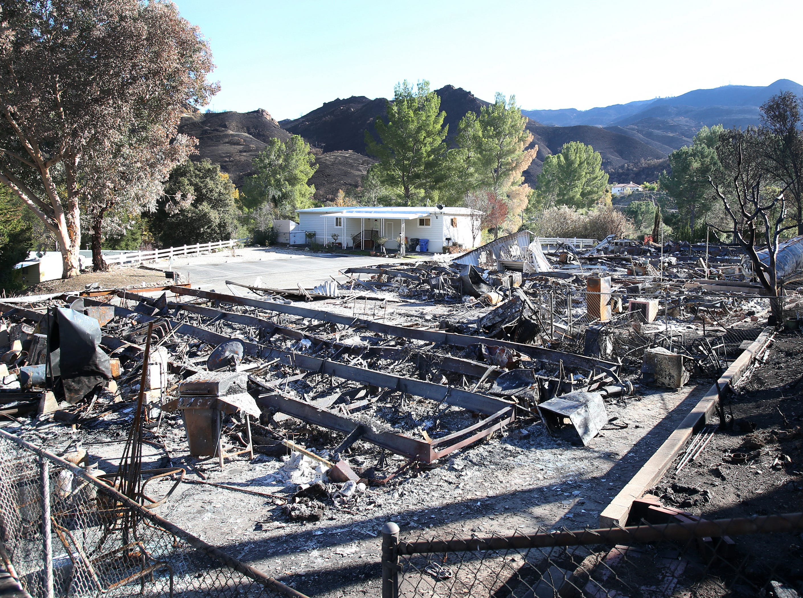 One home remains standing among the many destroyed from the Woolsey Fire at the Seminole Springs Mobile Home Park in Agoura Hills.