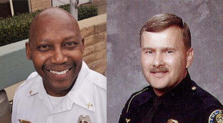 Willard Epps, interim city manager and former fire chief, left, and Barry Jones, interim police chief, will step down on Friday.