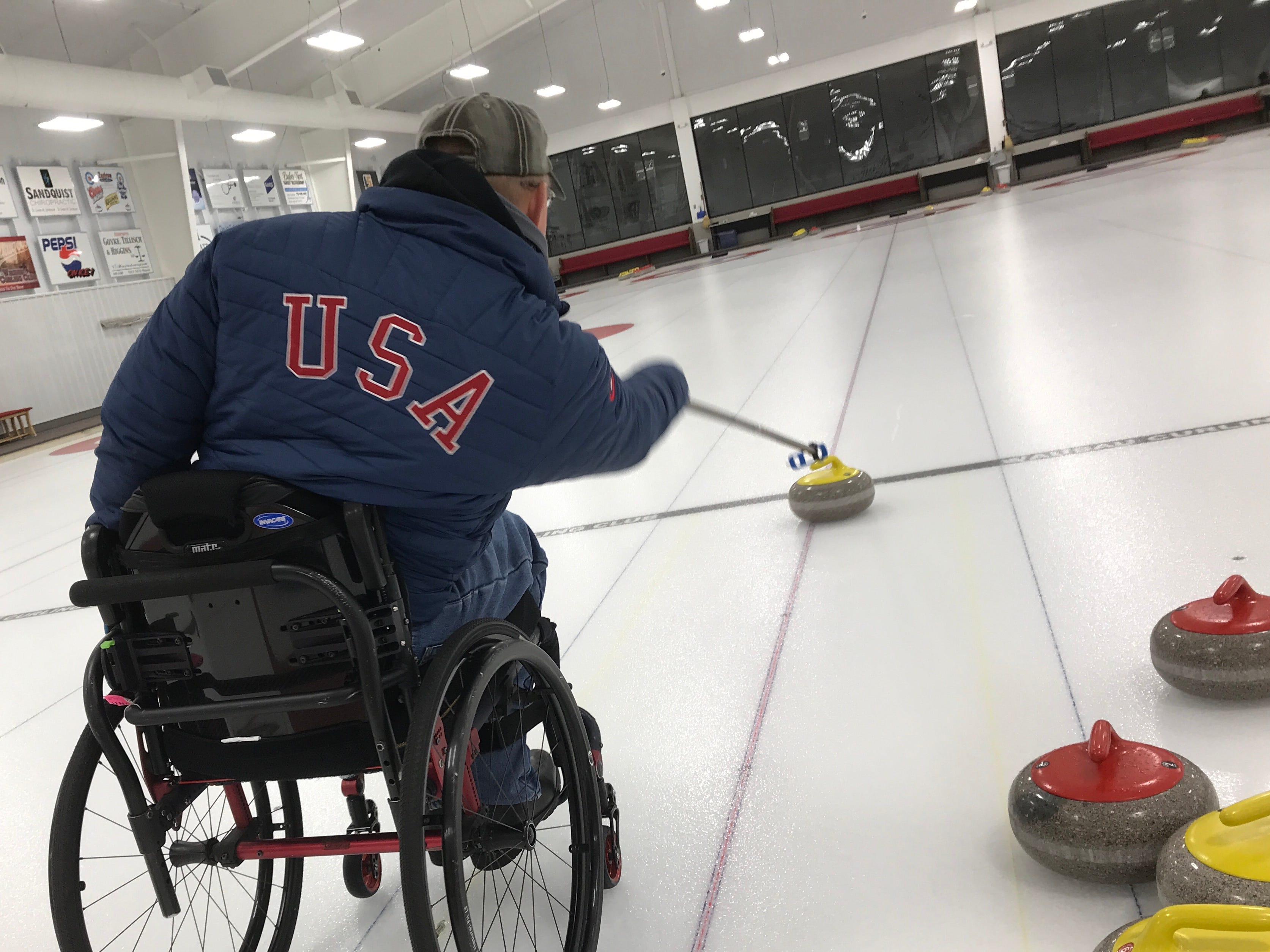 Here Matt Thums is practicing throwing stones on a recent Wednesday morning at the Wausau Curling  Club.