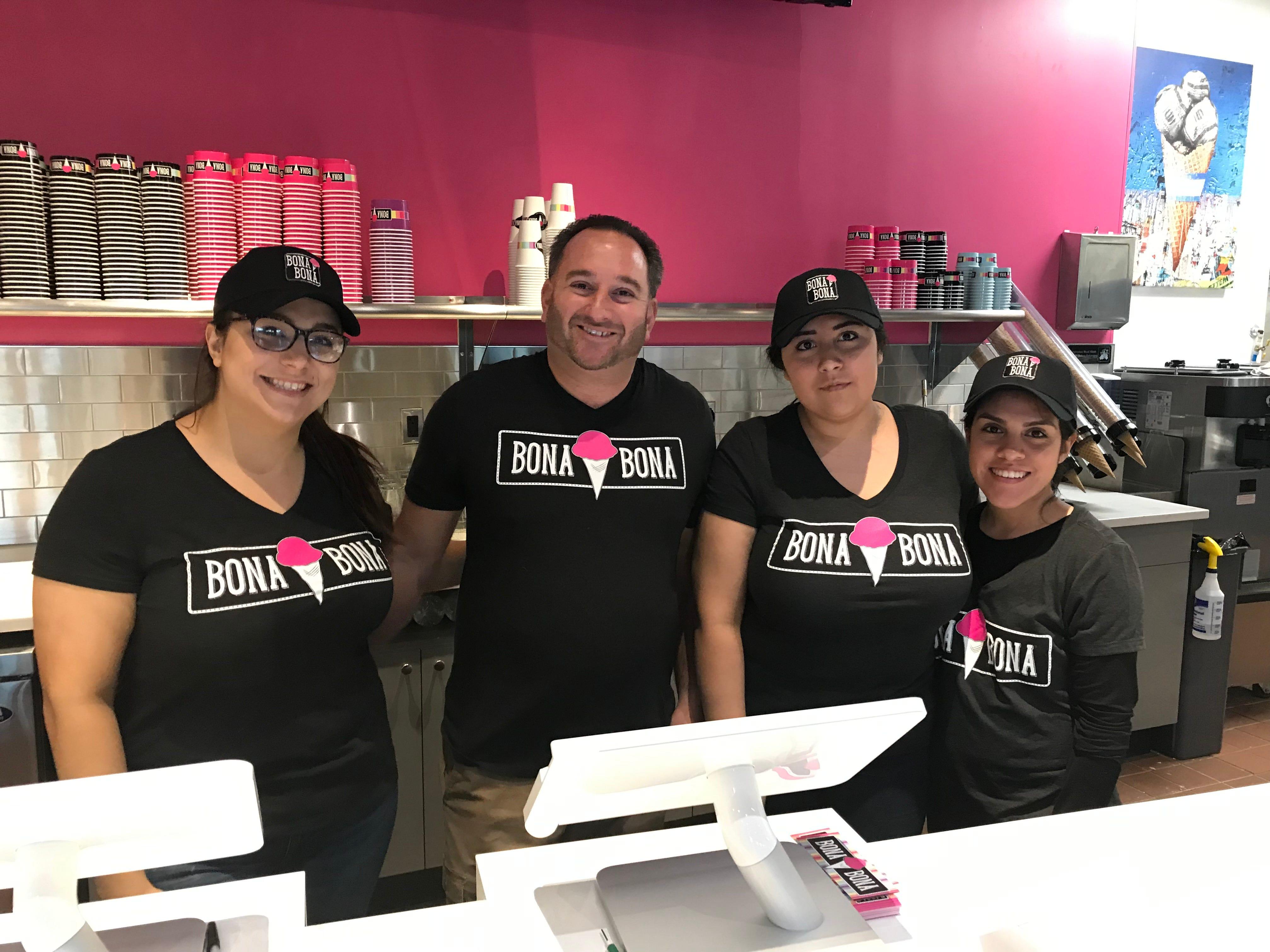 Bona Bona Ice Cream staff, left to right, Dawn Demi, owner Scott Herman, Esmeralda Perez and Keiry Gomez. Photographed Dec. 4, 2018.