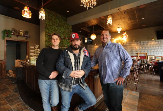 From left: John Poiarkoff, chef, David DiBari, the chef/owner and Scott Broccoli, the managing partner, are pictured inside their new restaurant, The Rare Bit, on Cedar Street in Dobbs Ferry, Dec. 5, 2018.