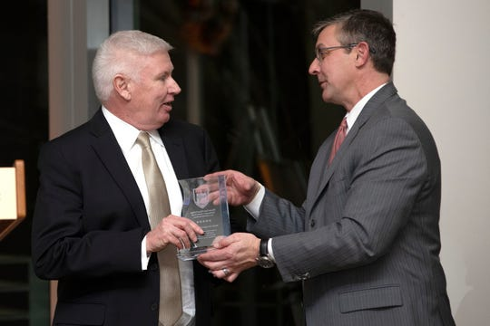 Mobile Life Support Services President and CEO Scott Woebse accepts the Joseph A. Bonura Award for Leadership Excellence at Mount Saint Mary College's Ninth Annual Gala Reception on Nov. 30,