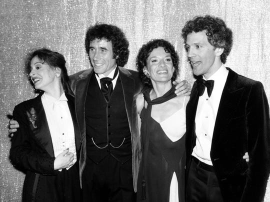 """Tony award winners, from left, Patti Lupone, Jim Dale, Phyllis Frelich and John Rubenstein at the 34th Annual Tony Awards ceremony in New York City on June 8, 1980. Lupone won best actress in a musical for """"Evita."""" Dale won best actor in a musical for """"Barnum."""" Frelich, who has been deaf since birth, won best actress for her role in """"Children of a Lesser God,"""" and her co-star Rubinstein won best actor award for the season's best drama on Broadway. Dale, who has a country home in Kent in Putnam County, will perform his one-man show, """"Just Jim Dale,"""" on Dec. 13 and 15 at the Schoolhouse Theater in Croton Falls."""
