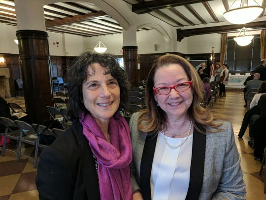 Robbie Schlaff, left, director of Westchester County Office for Women, and Carlla Horton, executive director of Hope's Door, were at Pace Law School on Dec. 5 at an event on freedom of speech.