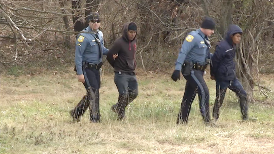 A Delaware River and Bay Authority spokesman said 12 people bailed out of a car on the interstate Wednesday morning during a traffic stop. They fled into the marsh but were arrested.