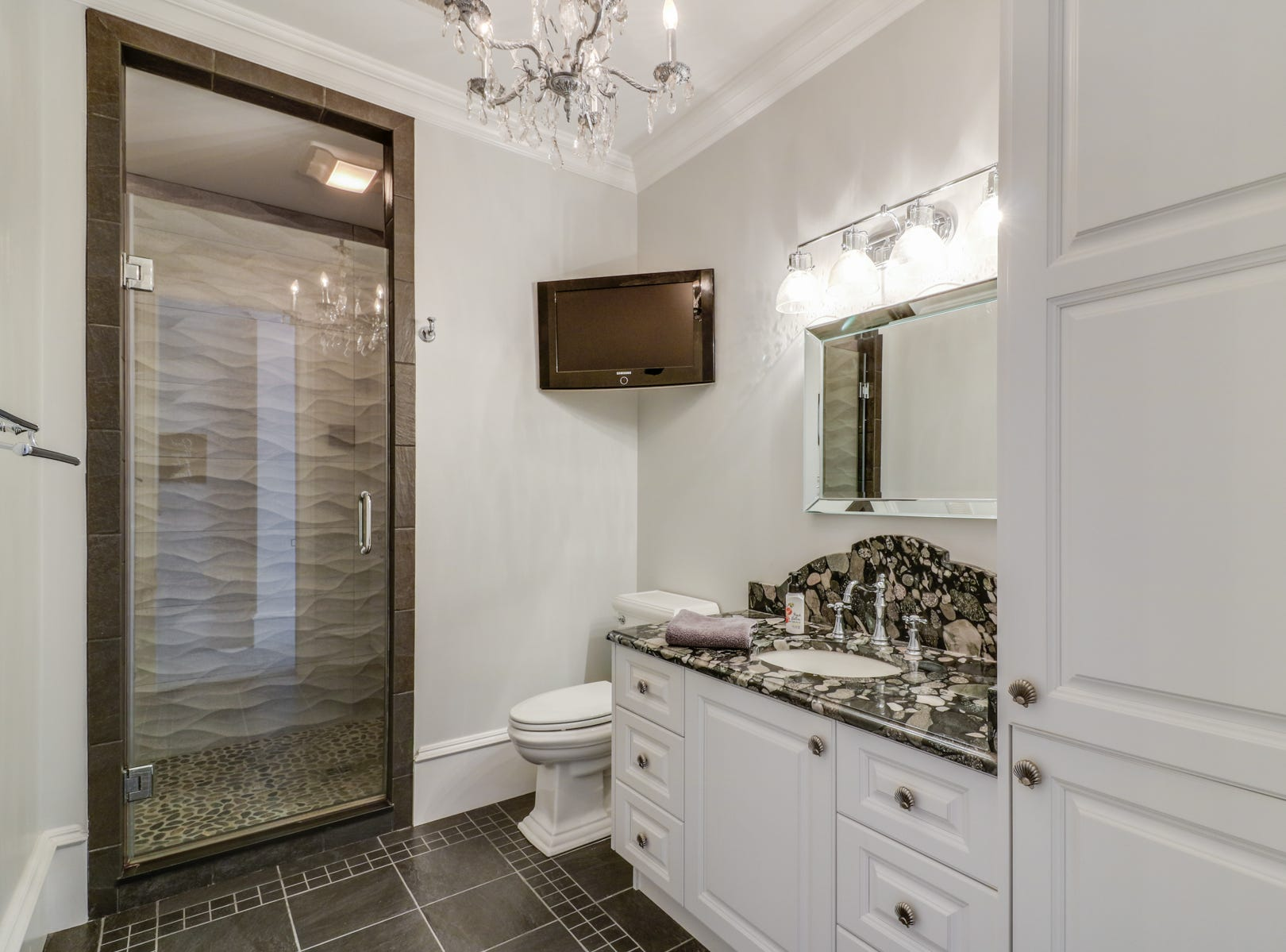 The bathrooms at 18 Ocean Drive in North Shores match the careful thought put into other details.