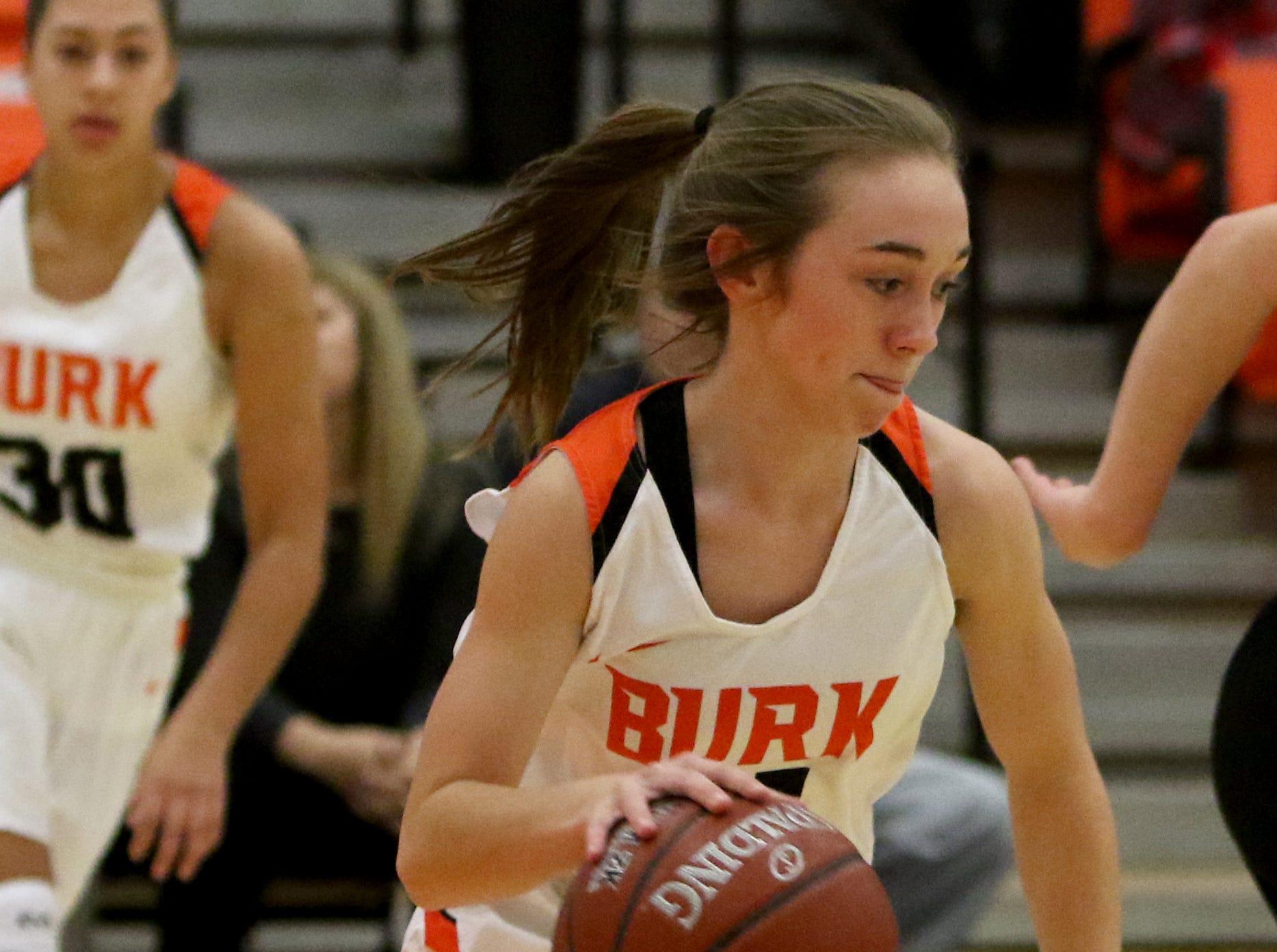 Burkburnett's Lexi King dribbles in the game against Nocona Tuesday, Dec. 4, 2018, in Burkburnett.