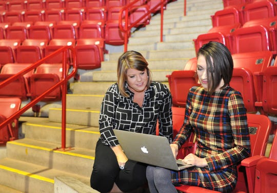 Stephanie Tucker, left, owner of the soon-to-be-named Wichita Falls US Arena soccer team chats with the team's VP Event Operations and Experience, Michelle Cramer, Wednesday at the Kay Yeager Coliseum.
