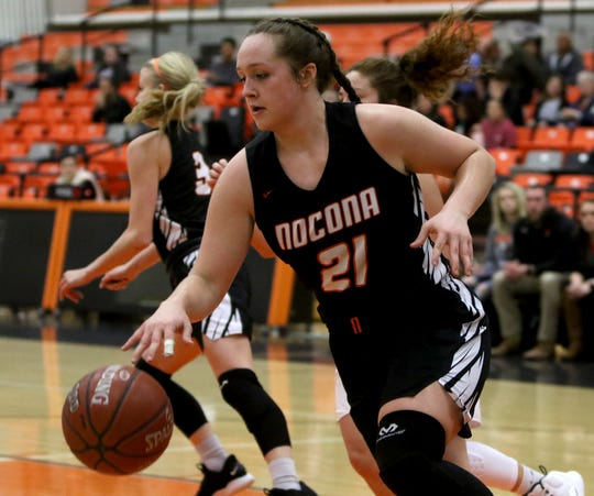 """Nocona's Averee Kleinhans earned a """"Nicky"""" for the most exciting moment for area girls this 2018-19 season."""