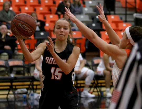 Nocona's Kylie Rose passes in the game against Burkburnett Tuesday, Dec. 4, 2018, in Burkburnett.