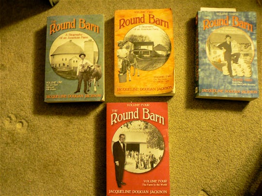 """The four volumes of """"The Round Barn"""" series. One, two or all make a great gift."""
