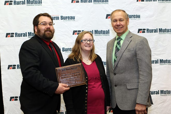 Marathon County farmers, Ryan and Lindsey Prahl, were selected as the winners of the Wisconsin Farm Bureau Federation's Young Farmer and Agriculturist Achievement Award at the organization's 99th Annual Meeting on Dec. 2.