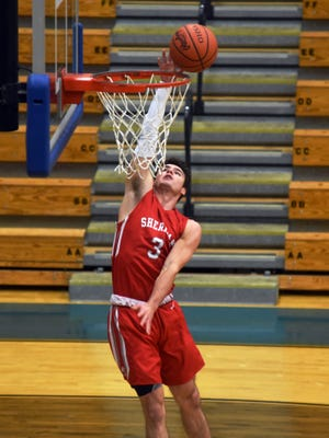 Sheridan's Ethan Heller goes up for a layup against Philo. The Generals' top scorer was named second-team All-Ohio on Wednesday.