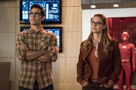 Through his cousin Kara (Melissa Benoist, right) Clark Kent, aka Superman (Tyler Hoechlin) meets some new fellow superheroes.