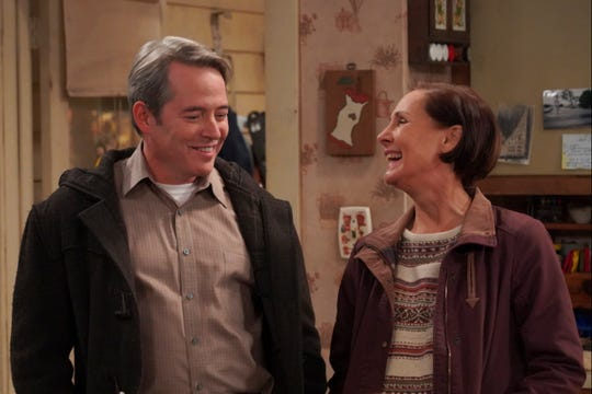 Jackie (Laurie Metcalf), right, is smitten with her unemployed boyfriend, Peter (Matthew Broderick), in Tuesday's episode of ABC's 'The Conners.'