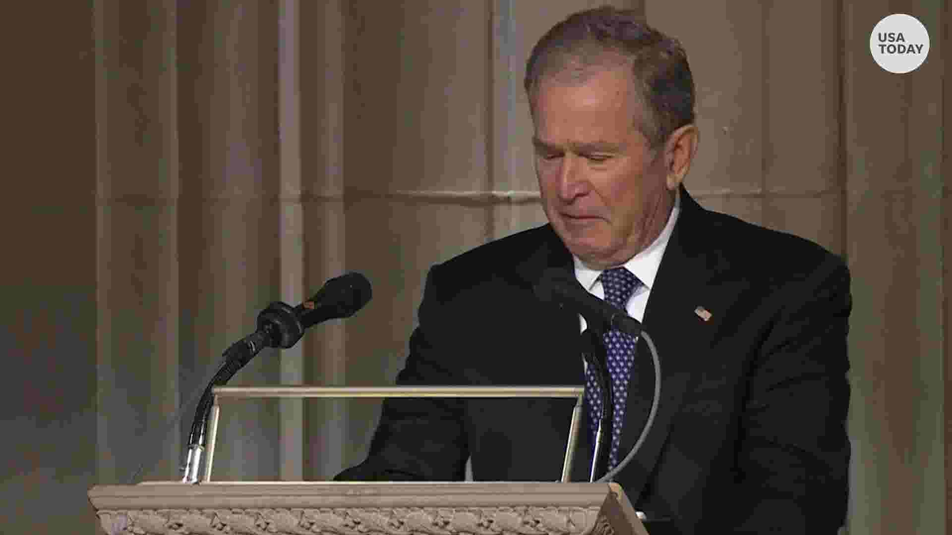 George Hw Bush Funeral George Bush Chokes Back Tears As He Lauds Dad