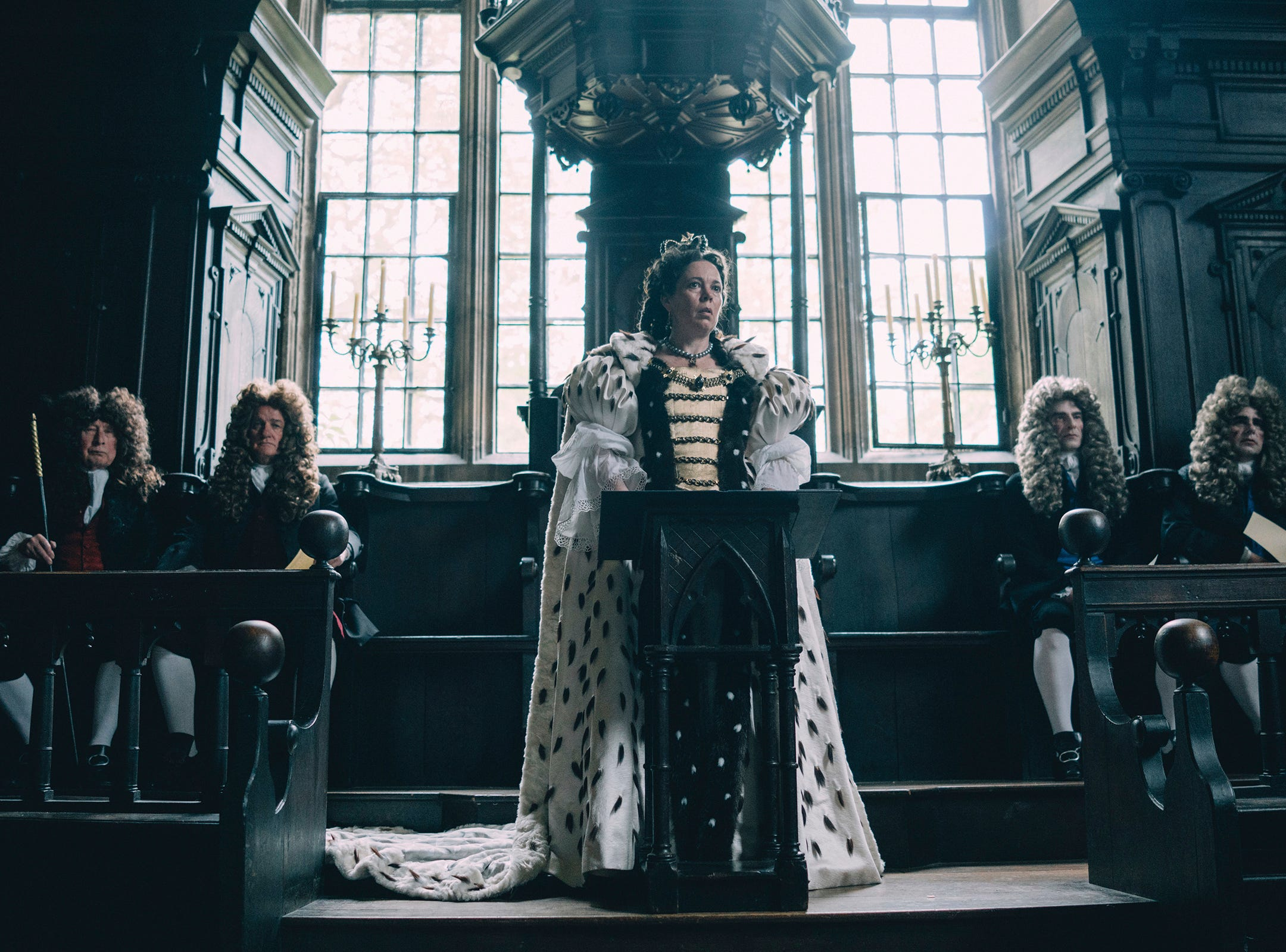"This image released by Fox Searchlight Films shows Olivia Colman in a scene from the film ""The Favourite."" The film is among the American Film Instituteís top 10 films of the year. AFI announced its selections for the 19th AFI Awards Tuesday, Dec. 4, 2018, recognizing works deemed culturally and artistically significant by a jury of AFI Trustees, scholars and critics."
