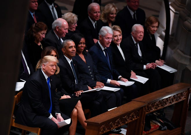 President Donald Trump, first lady Melania Trump, Barack Obama, Michelle Obama, Bill Clinton, Hillary Clinton, Jimmy Carter and Rosalynn Carter gathered at the Washington National Cathedral for the funeral of George H.W. Bush.