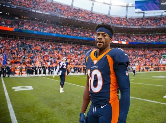 Denver Broncos wide receiver Emmanuel Sanders (10) against the Kansas City Chiefs at Broncos Stadium at Mile High.